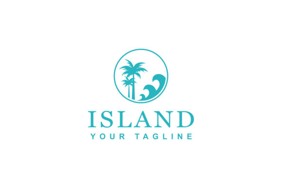 Download Free Beach Island Logo Design Graphic By Sabavector Creative Fabrica for Cricut Explore, Silhouette and other cutting machines.
