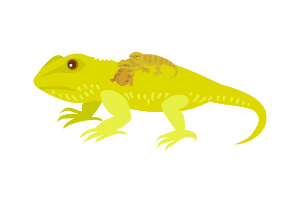 Download Free Bearded Dragon Reptile Mama With Her Babies Svg Cut File By for Cricut Explore, Silhouette and other cutting machines.