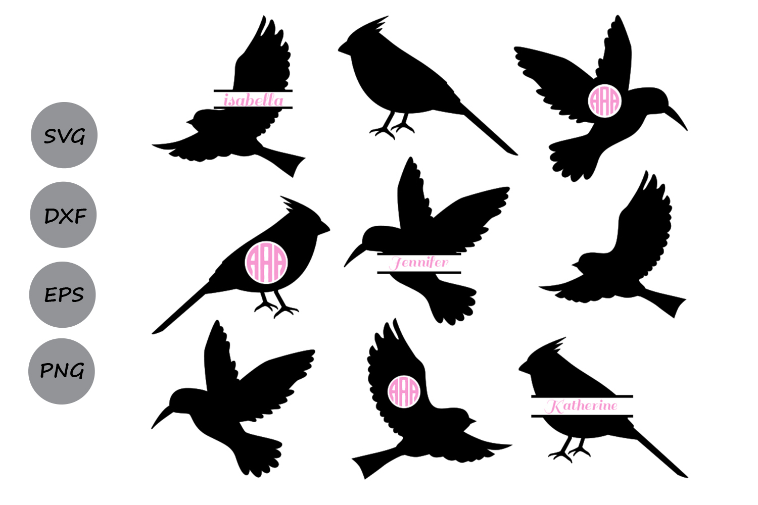 Download Free Birds Monogram Graphic By Cosmosfineart Creative Fabrica for Cricut Explore, Silhouette and other cutting machines.