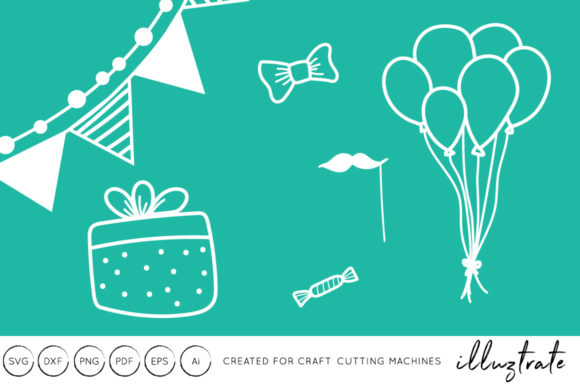 Download Free Birthday Graphics Bundle Grafico Por Illuztrate Creative Fabrica for Cricut Explore, Silhouette and other cutting machines.