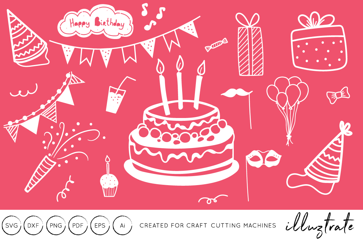 Download Free Birthday Graphics Bundle Graphic By Illuztrate Creative Fabrica for Cricut Explore, Silhouette and other cutting machines.