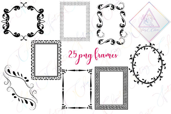 Print on Demand: Black Frames Clipart Graphic Illustrations By fantasycliparts
