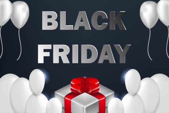 Print on Demand: Black Friday Sale Poster with Shiny Balloons Graphic Backgrounds By ojosujono96