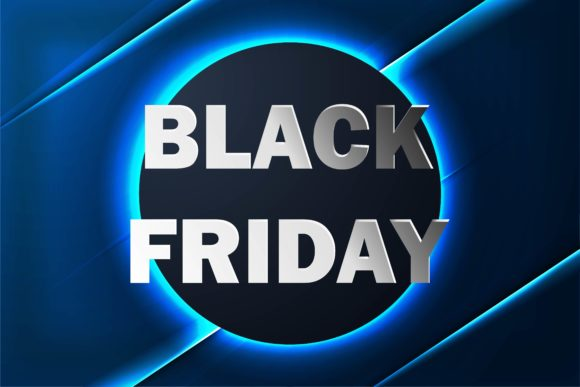 Print on Demand: Black Friday Sale Banner with Neon Background Graphic Backgrounds By ojosujono96