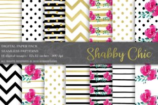 Black, Gold, Floral Digital Paper Graphic Patterns By BonaDesigns