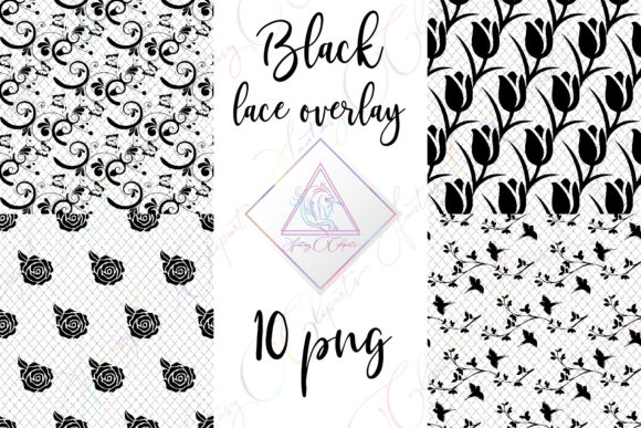 Print on Demand: Black Lace Overlay Clipart Graphic Illustrations By fantasycliparts