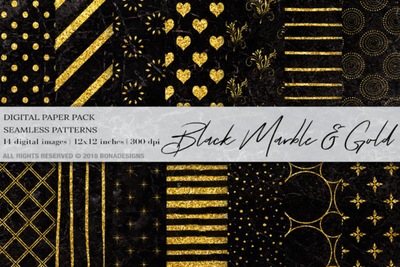 Black Marble Gold Digital Paper Graphic Patterns By BonaDesigns