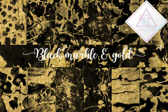 Print on Demand: Black Marble & Gold Glitter Digital Paper Graphic Textures By fantasycliparts