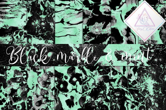 Print on Demand: Black Marble & Mint Foil Digital Paper Graphic Textures By fantasycliparts