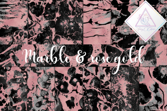 Print on Demand: Black Marble & Rose Gold Graphic Textures By fantasycliparts