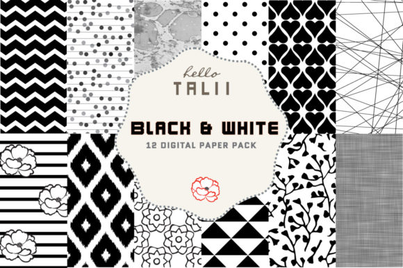 Black and White Digital Paper Graphic Patterns By Hello Talii