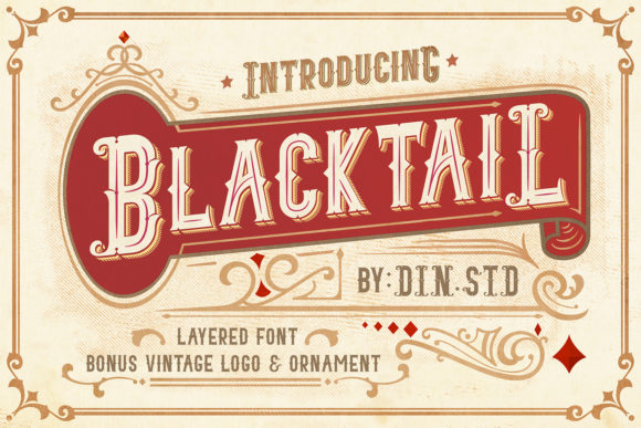 Print on Demand: Blacktail Family Display Schriftarten von Din Studio
