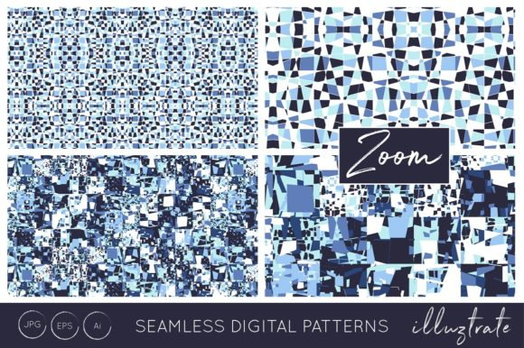 Print on Demand: Blue Texture Patterns Graphic Patterns By illuztrate - Image 3