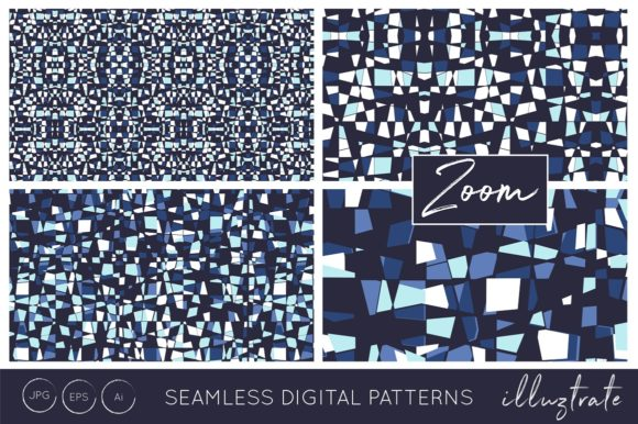 Print on Demand: Blue Texture Patterns Graphic Patterns By illuztrate - Image 4