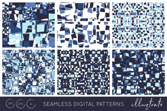 Print on Demand: Blue Texture Patterns Graphic Patterns By illuztrate