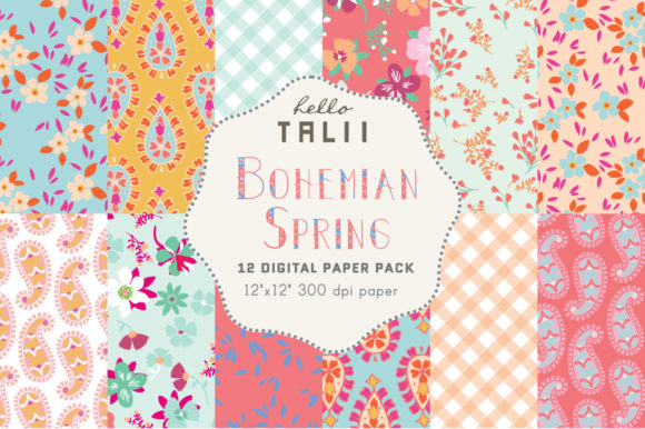 Bohemian Spring Digital Papers Graphic Patterns By Hello Talii