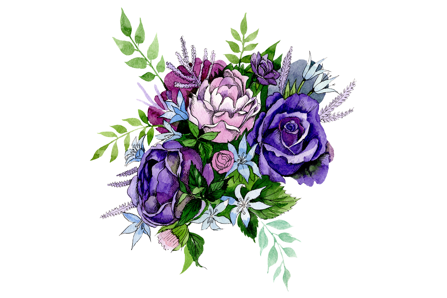 Download Free Bouquet Of Pink And Purple Roses Graphic By Mystocks Creative for Cricut Explore, Silhouette and other cutting machines.
