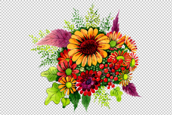 Bouquet of Wild Flowers PNG Watercolor Set Graphic By MyStocks Image 2
