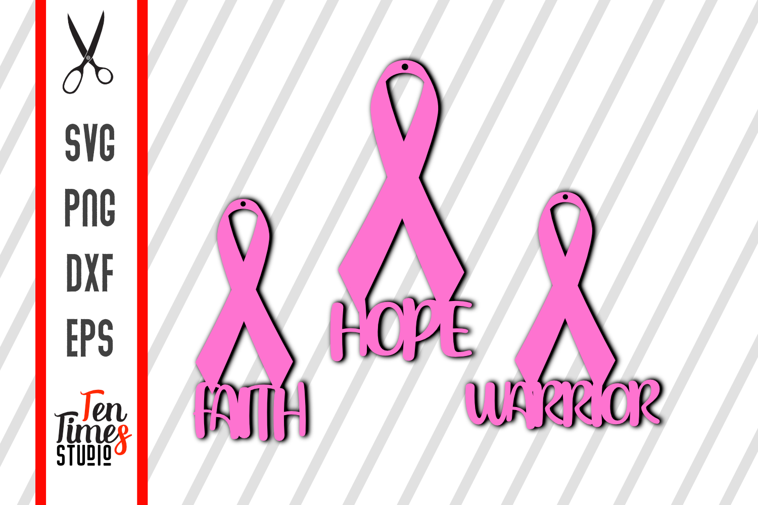 Download Free Breast Cancer Awareness Earrings Graphic By Ten Times Studio for Cricut Explore, Silhouette and other cutting machines.