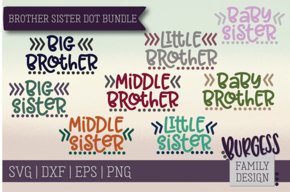 Brother Sister Dot Bundle Graphic Crafts By burgessfamilydesign