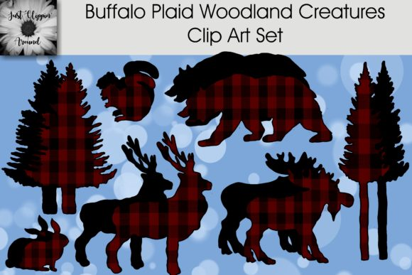Buffalo Plaid Woodland Creatures Clip Art Set Graphic Illustrations By justclippinaround