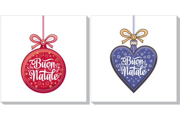 Print on Demand: Buon Natale Christmas Template Graphic Illustrations By zoyali
