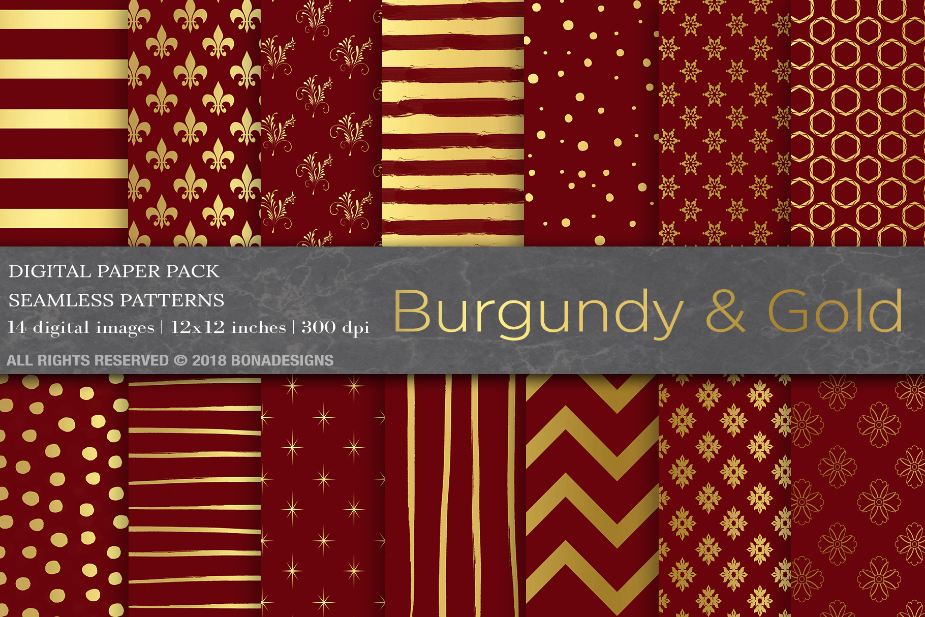 Download Free Burgundy Gold Digital Paper Graphic By Bonadesigns Creative for Cricut Explore, Silhouette and other cutting machines.