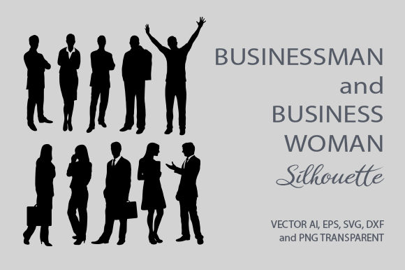 Businessman and Business Woman Silhouette Graphic Illustrations By Cove703