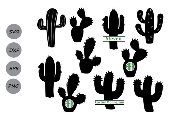 Print on Demand: Cactus Monogram   Graphic Crafts By CosmosFineArt