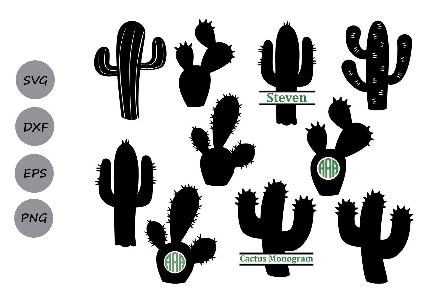 Download Free Cactus Monogram Graphic By Cosmosfineart Creative Fabrica for Cricut Explore, Silhouette and other cutting machines.