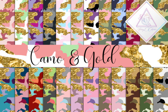 Print on Demand: Camo & Gold Glitter Digital Paper Graphic Textures By fantasycliparts
