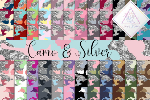 Print on Demand: Camo with Silver Glitter Digital Paper Graphic Textures By fantasycliparts