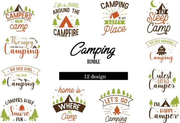 Print on Demand: Camping Bundle Graphic Crafts By graphicrun123