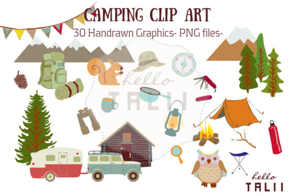 Camping Clip Art Graphic Illustrations By Hello Talii
