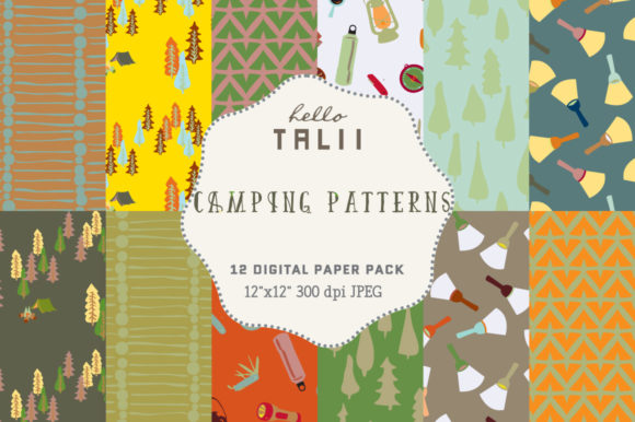 Download Free Camping Digital Paper Graphic By Hello Talii Creative Fabrica for Cricut Explore, Silhouette and other cutting machines.