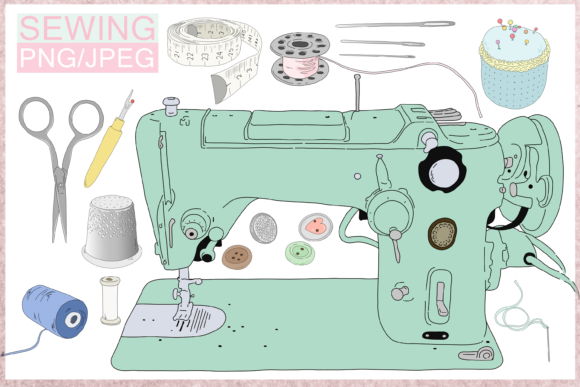 Cartoon Sewing Bundle Graphic Illustrations By Jen Digital Art