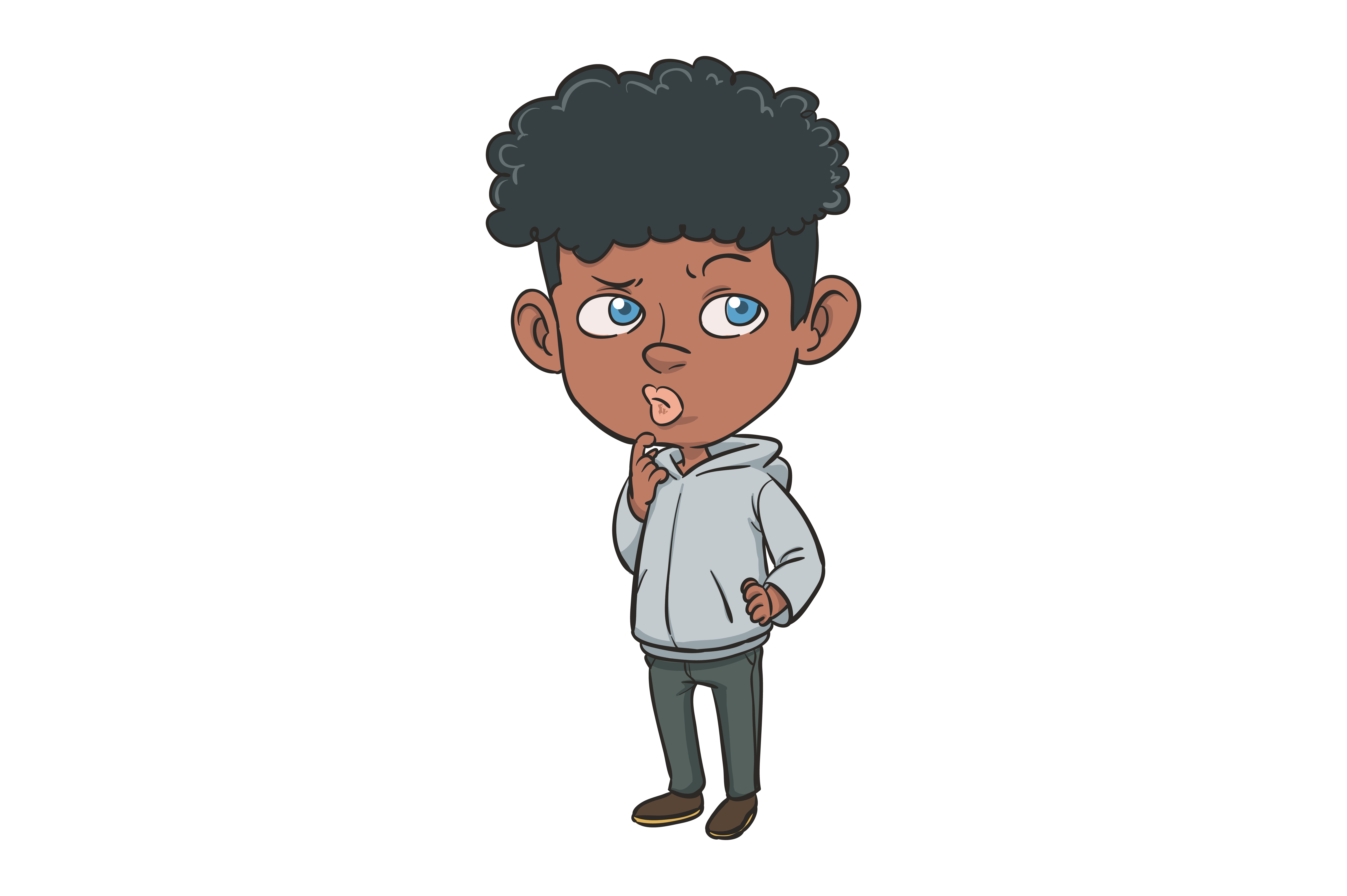 Character Illustration Of A Curly Haired Boy Graphic By Donovan