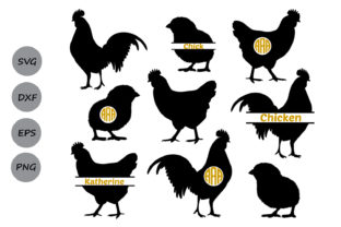 Download Free Chicken Monogram Graphic By Cosmosfineart Creative Fabrica for Cricut Explore, Silhouette and other cutting machines.