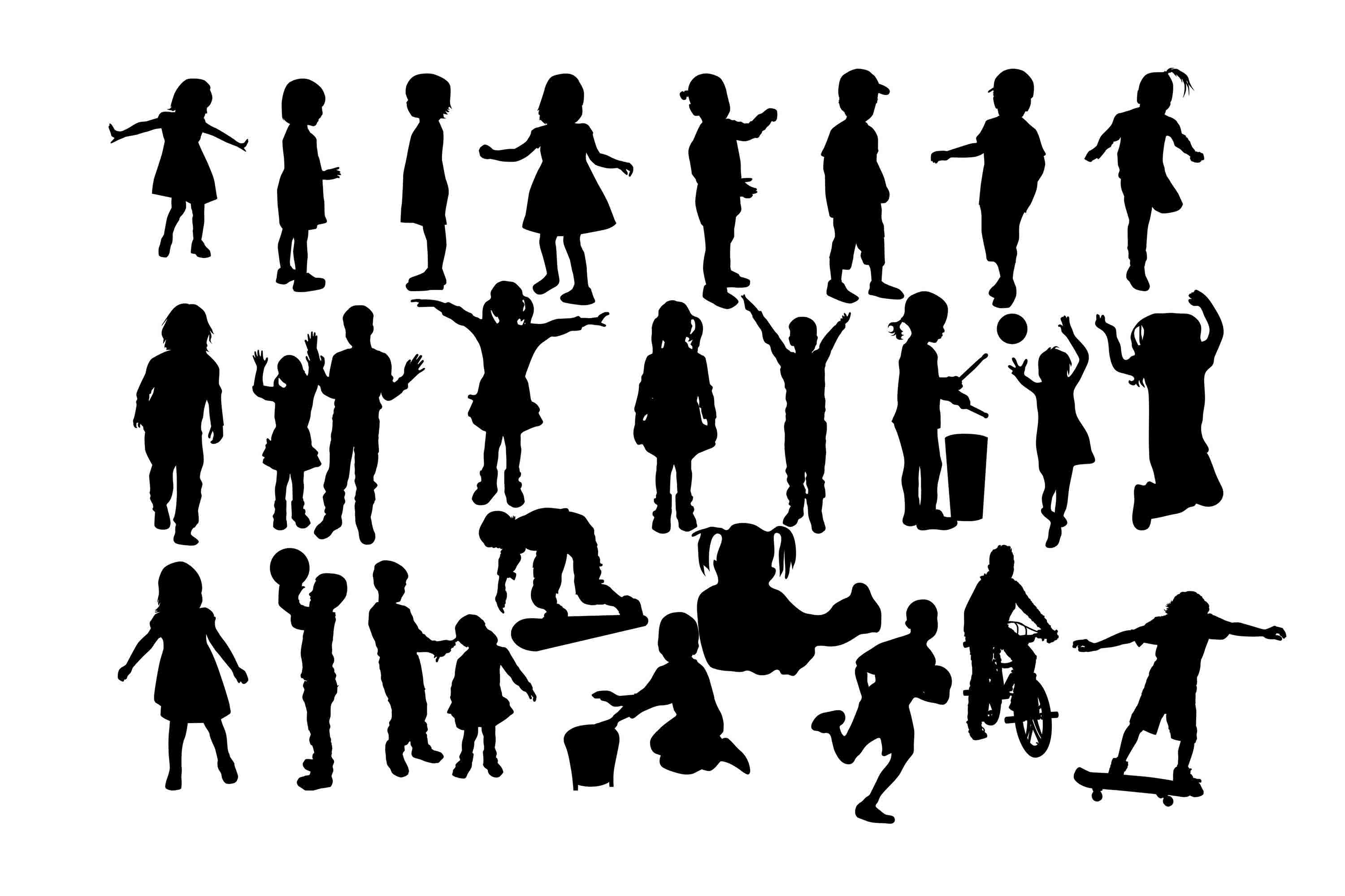 Download Free Children Silhouette Grafico Por Twelvepapers Creative Fabrica for Cricut Explore, Silhouette and other cutting machines.