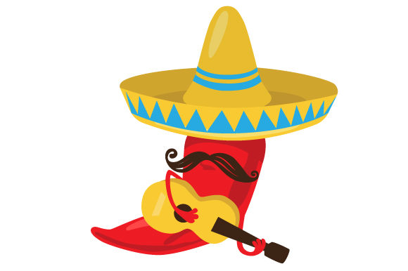 Download Free Chilli Wearing A Sombrero With Moustache Holding A Guitar Svg for Cricut Explore, Silhouette and other cutting machines.