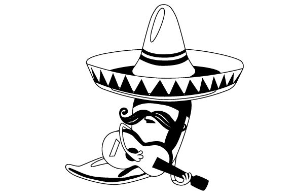 Download Free Chilli Wearing A Sombrero With Moustache Holding A Guitar Svg SVG Cut Files