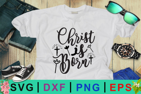 Download Free Christ Is Born Christmas Design Graphic By Design Palace for Cricut Explore, Silhouette and other cutting machines.