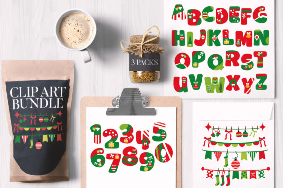 Print on Demand: Christmas Alphabet and Numbers Bundle Graphic Illustrations By Revidevi