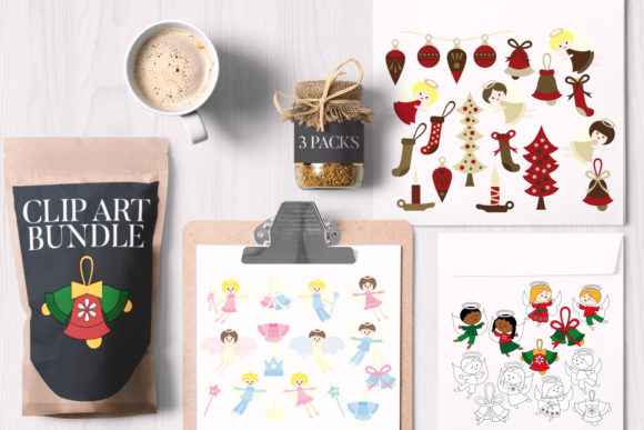 Print on Demand: Christmas Angels Bundle Graphic Illustrations By Revidevi