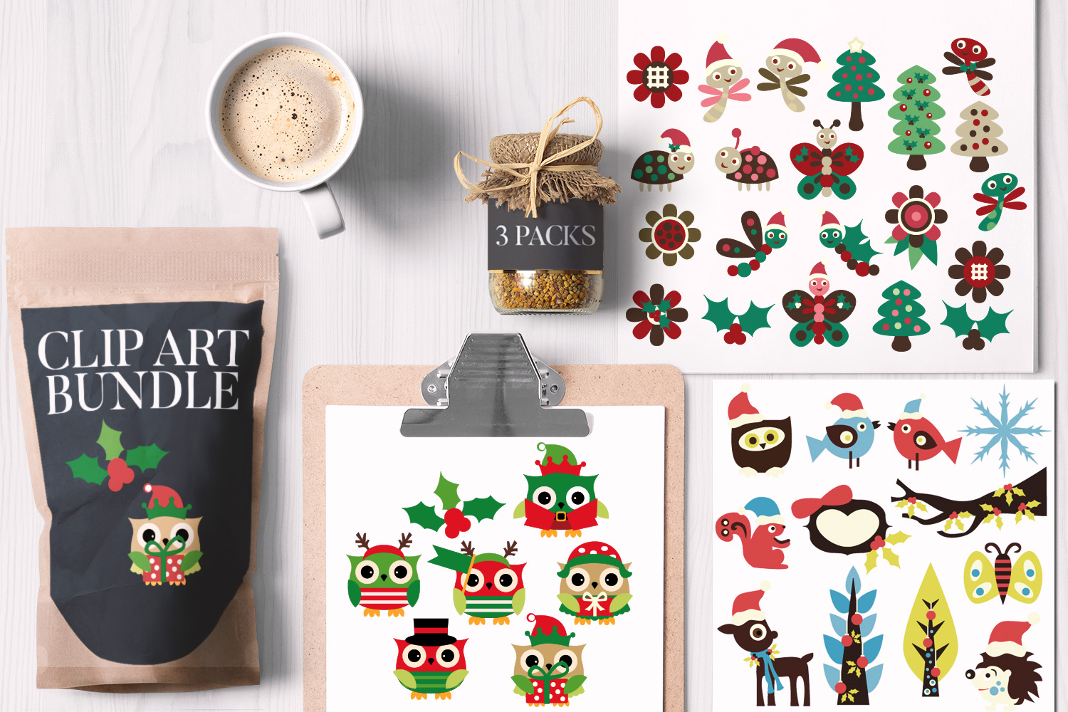 Download Free Christmas Animals Bundle Grafico Por Revidevi Creative Fabrica for Cricut Explore, Silhouette and other cutting machines.