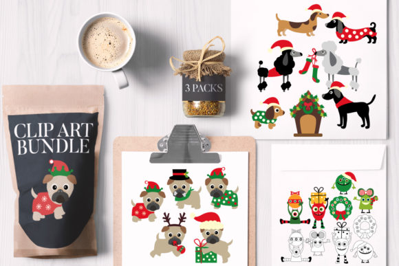 Print on Demand: Christmas Bundle Monster Pug Dog Graphic Illustrations By Revidevi