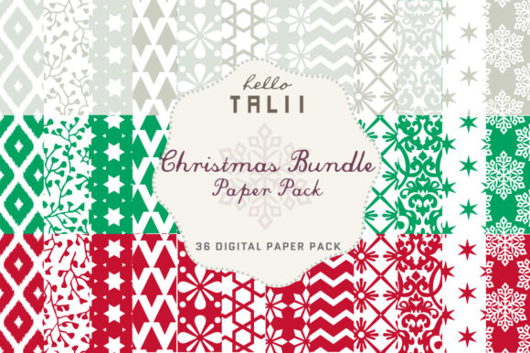 Christmas Bundle Paper Pack Graphic Patterns By Hello Talii