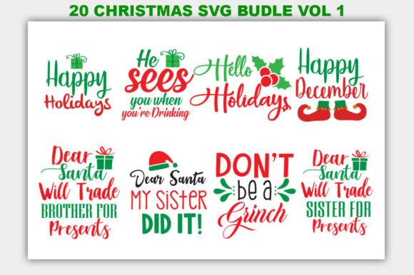 Download Free Christmas Bundle Graphic By Designfarm Creative Fabrica for Cricut Explore, Silhouette and other cutting machines.