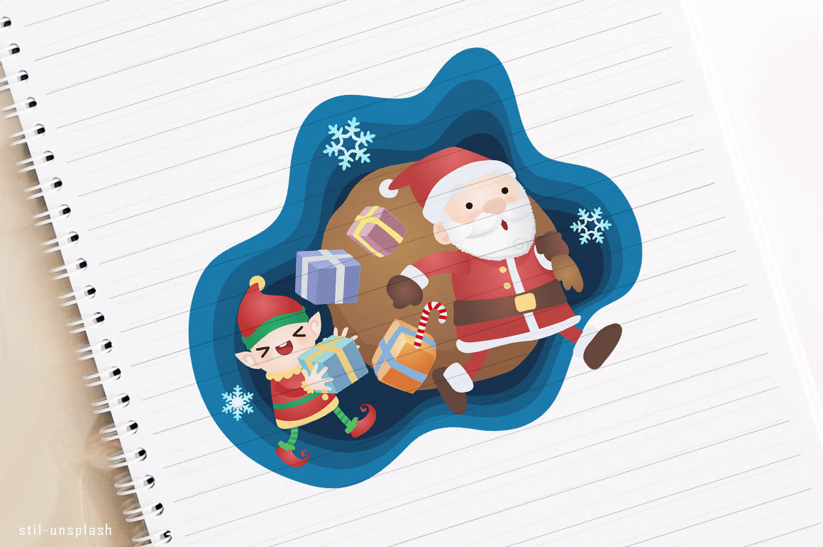 Download Free Christmas Club Santa Claus And Elf Graphic By Holejohn for Cricut Explore, Silhouette and other cutting machines.