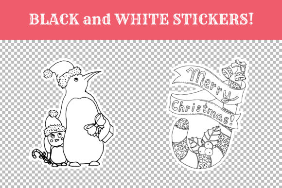 Download Free Christmas Coloring White Stickers Pack Graphic By Ilonitta R for Cricut Explore, Silhouette and other cutting machines.